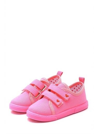 First Step Çift Cırtlı Kalpli Çocuk Keten Ayakkabı--F-499 Pembe
